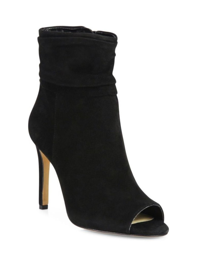 Vince Camuto Keyna Ruched Suede Open Toe Booties