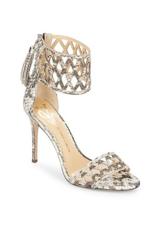 Vince Camuto Mance Snake-Embossed Leather Ankle Cuff Pumps