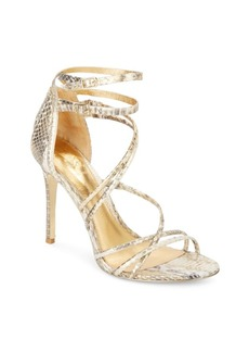 Vince Camuto Marlie Strappy Snake-Embossed Metallic Leather Pumps