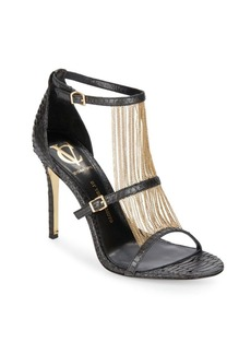 Vince Camuto Marston Chain-Trimmed Embossed Leather Sandals