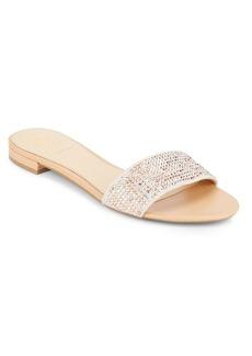 Vince Camuto Sabley Rhinestone-Embellished Leather Slide Sandals