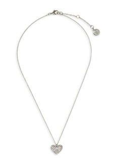 Vince Camuto Silvertone & Crystal Heart Pendant Necklace in Gift Box