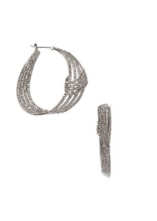 Vince Camuto Silvertone & Crystal Wraparound Hoop Earrings