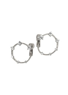 Vince Camuto Silvertone & Pavé Crystal Hoop Earrings