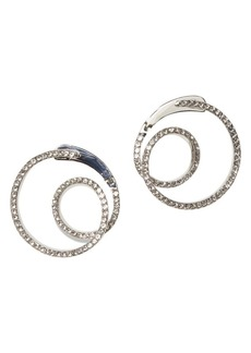 Vince Camuto Silvertone and Crystal Twist Wrap-Around Pave Earrings