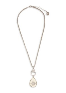 Vince Camuto Silvertone and Glass Stone Starburst Charm Pendant Necklace