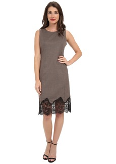 Vince Camuto S/L Shift Dress w/ Lace Trim