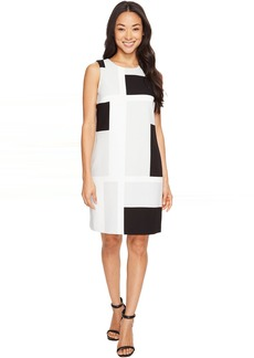 Vince Camuto Sleeveless Abstract Grid Shift Dress