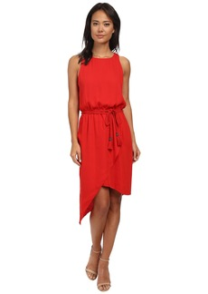 Vince Camuto Sleeveless Asymmetrical Hem Wrap Front Dress