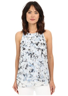 Vince Camuto Sleeveless Broken Prism Mix Media Blouse
