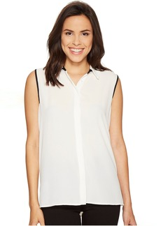 Sleeveless Collared Button Down Blouse with Back Pleat