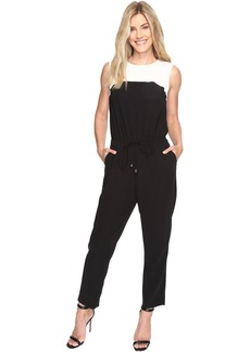 Sleeveless Color Blocked Drawstring Jumpsuit