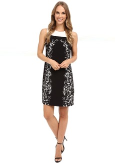 Vince Camuto Sleeveless Delicate Trellis Panel Shift Dress