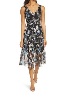 Vince Camuto Sleeveless Embroidered Mesh Dress