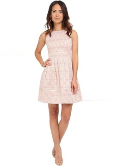 Vince Camuto Sleeveless Fit and Flare with Release Pleats and Combo Binding
