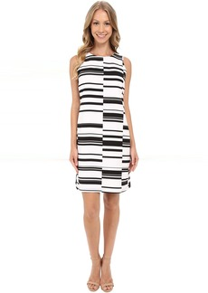 Sleeveless Graphic Stagger Stripe Shift Dress