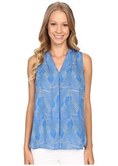 Vince Camuto Sleeveless Graphic Strip Fan Invert Pleat Blouse