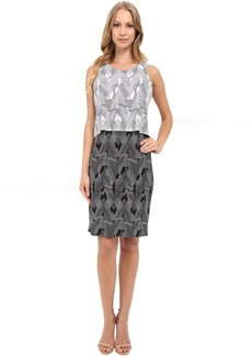 Vince Camuto Sleeveless Graphic Strip Fan Popover Dress