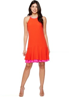 Vince Camuto Sleeveless Halter Color Blocked Ruffle Hem Dress
