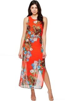 Vince Camuto Sleeveless Havana Tropical Maxi Dress w/ Slits
