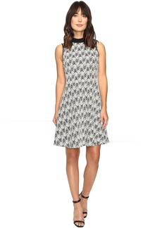 Sleeveless Herringbone Jacquard Mock Neck Dress