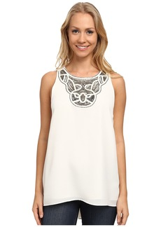 Vince Camuto Sleeveless High-Low Hem Blouse w/ Neck Embelishment