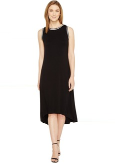 Vince Camuto Sleeveless High-Low Hem Dress with Embroidered Neck/Armhole