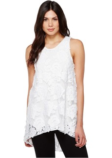 Sleeveless High-Low Hem Floral Mesh Blouse