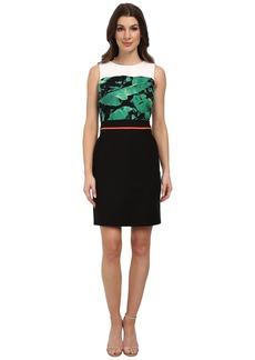 Vince Camuto Sleeveless Island Palm Dress w/ Heavy Georgette