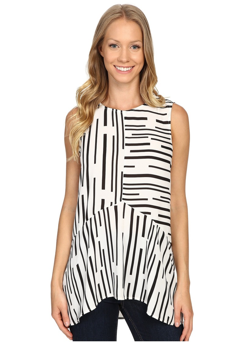 1a196a9577a54f SALE! Vince Camuto Vince Camuto Sleeveless Linear Geo Ruffle Front ...