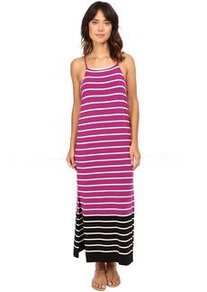 Sleeveless Magnet Stripe Dress w/ Side Slits