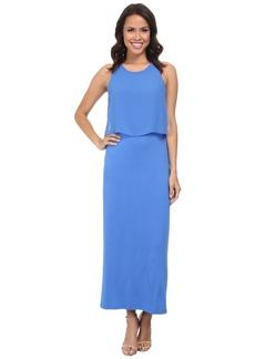 Vince Camuto Sleeveless Maxi Dress w/ Woven Overlay Top