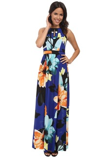 Vince Camuto Sleeveless Maxi with Piped Keyhole Bodice