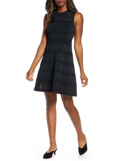 Vince Camuto Sleeveless Mesh Fit & Flare Sweater Dress (Regular & Petite)