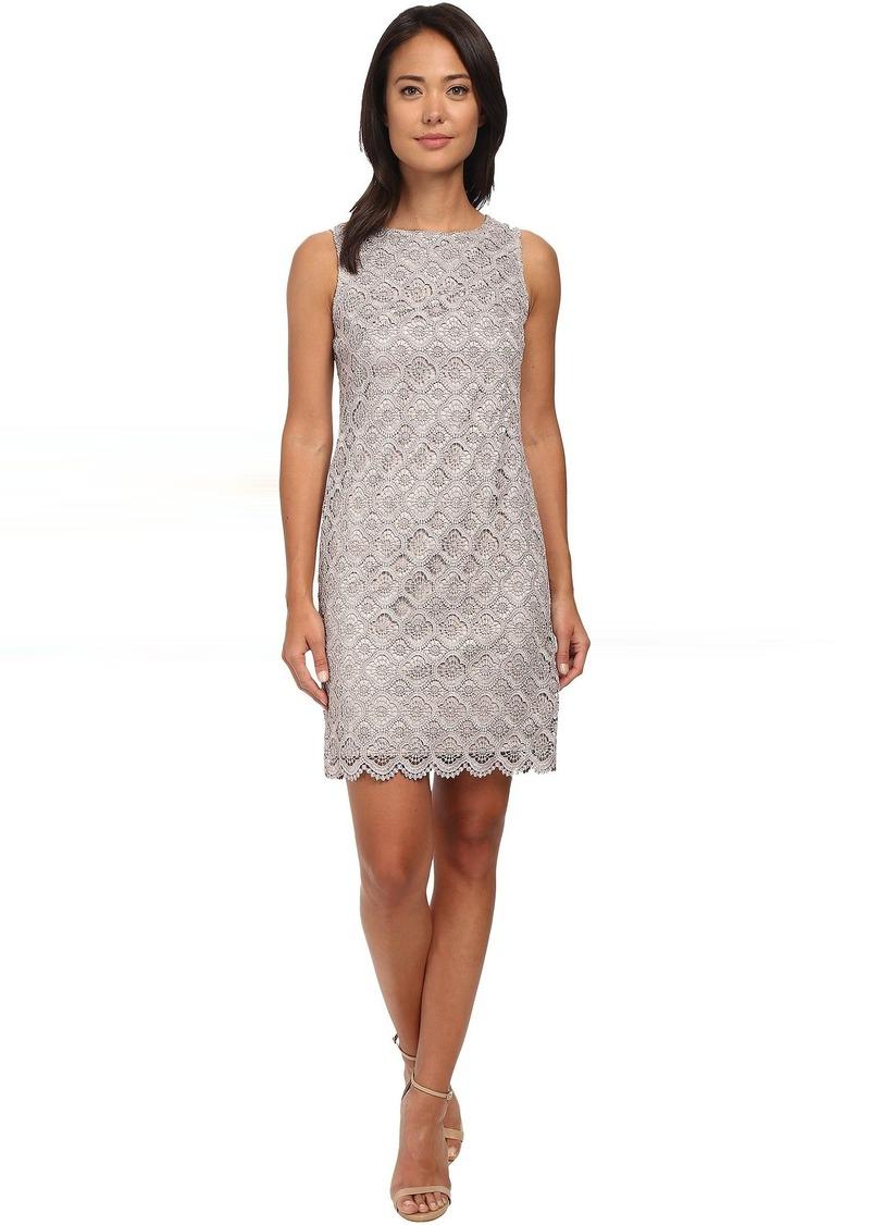 Sleeveless Metallic Lace Shift Dress