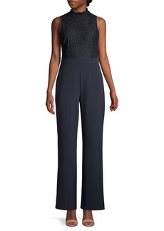 Vince Camuto Sleeveless Mixed-Media Jumpsuit