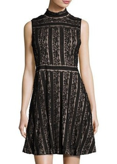 Vince Camuto Sleeveless Mock-Neck Lace Fit & Flare Dress