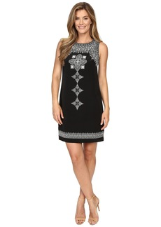 Vince Camuto Sleeveless Ornate Blocks Panel Shift Dress