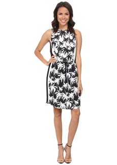 Vince Camuto Sleeveless Palm Harmony Tie Waist Dress