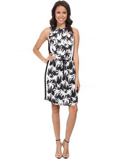 Vince Camuto Sleeveless Palm Harmony Tie Waist Dress