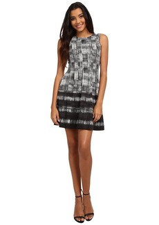 Vince Camuto Sleeveless Plaid Scuba Fit & Flare