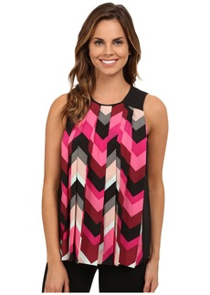 Vince Camuto Sleeveless Random Herringbone Pleated Blouse