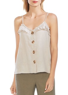 VINCE CAMUTO Sleeveless Ruffle-Trim Linen Top