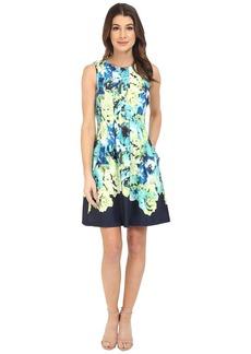 Vince Camuto Sleeveless Scuba Dress w/ Waist Seam and Overlap Skirt