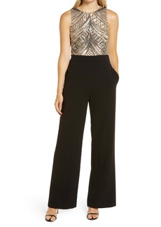 Vince Camuto Sleeveless Sequin Bodice Jumpsuit