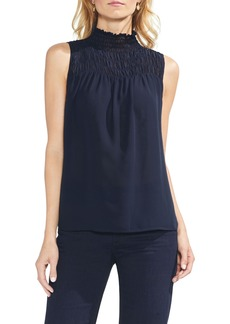 Vince Camuto Sleeveless Smocked Mock Neck Blouse (Regular & Petite)
