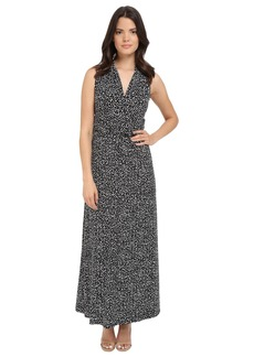 Vince Camuto Sleeveless Speckle Graphic Halter Maxi Dress