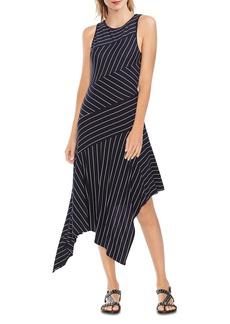 VINCE CAMUTO Sleeveless Striped Handkerchief-Hem Dress