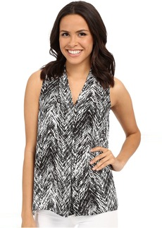 Vince Camuto Sleeveless Textured Vibe V Blouse w/ Front Pleat