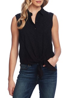 Vince Camuto Sleeveless Tie Front Cotton Eyelet Blouse